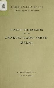 "Cover of ""Seventh presentation of the Charles Lang Freer Medal, May 2, 1983"""