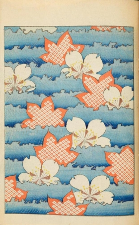 Design of stylized maple leaves and cherry blossoms on a blue background from vol. 1 of Shin-bijustukai