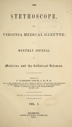 Cover of The Stethoscope and Virginia medical gazette
