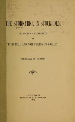 "Cover of ""The Storkyrka in Stockholm"""