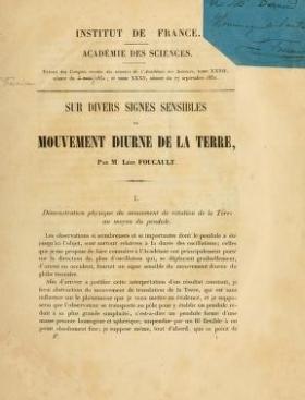 """Cover of """"Sur divers signes sensibles du mouvement diurne de la terre /"""""""