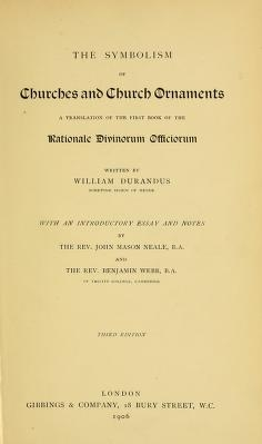 "Cover of ""The symbolism of churches and church ornaments"""