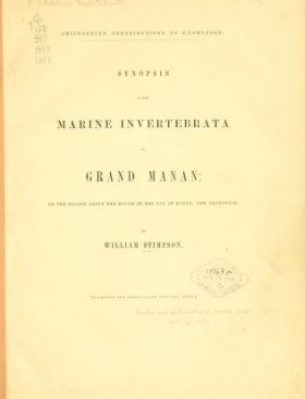 """Cover of """"Synopsis of the marine Invertebrata of Grand Manan"""""""