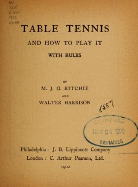 "Cover of ""Table tennis and how to play it"""