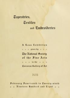 """Cover of """"Tapestries, textiles and embroideries"""""""