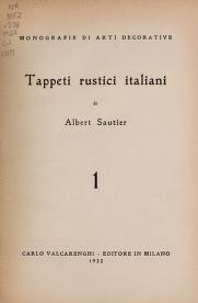 Cover of Tappeti rustici italiani