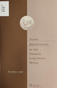 """Cover of """"Tenth presentation of the Charles Freer Medal, October 1, 1998"""""""