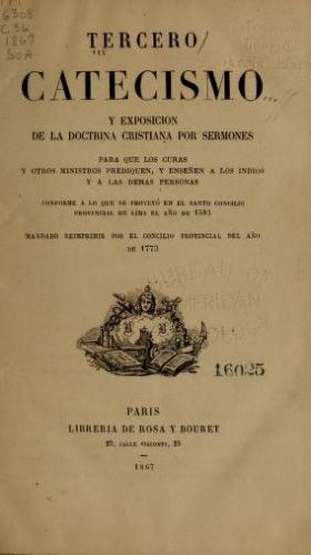 """Cover of """"Tercero catecismo y exposicion de la doctrina christiana por sermones para que los curas"""""""