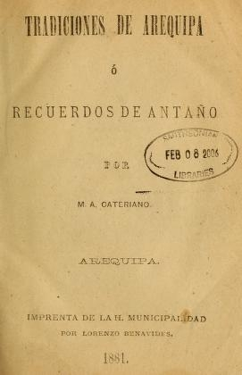 "Cover of ""Tradiciones de Arequipa"""