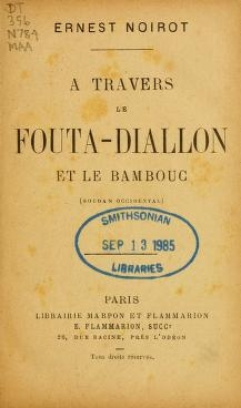 "Cover of ""A travers le Fouta-Diallon et le Bambouc (Soudan occidental) /"""