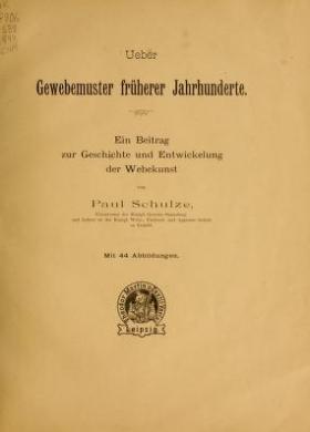 """Cover of """"Ueber Gewebemuster früherer Jahrhunderte"""""""