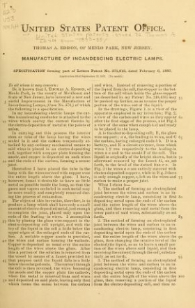 "Cover of ""U.S. patents issued to Thomas A. Edison from 1883-88"""
