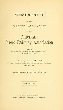 Cover of Verbatim report of the ... Annual Meeting of the American Street-Railway Association
