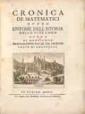 Cover of Cronica de matematici, overo Epitome dell'istoria delle vite loro