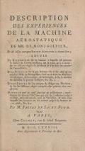 Cover of Description des expériences de la machine aérostatique de MM.