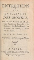 Cover of Entretiens sur la pluralité des mondes