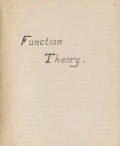 Cover of Function theory