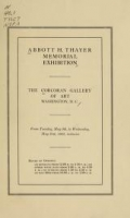 Cover of Abbott H. Thayer memorial exhibition
