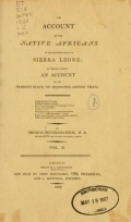"""Cover of """"An account of the native Africans in the neighbourhood of Sierra Leone"""""""