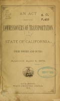 Cover of An act relative to the Commissioners of transportation of the State of California