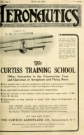 Cover of Aeronautics showing biplane and an ad for the Curtiss Training School