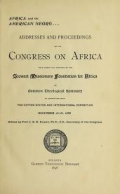 Cover of Africa and the American Negro