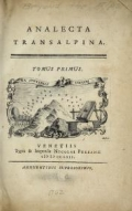 Cover of Analecta transalpina t.1 (1762)