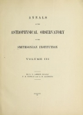 Cover of Annals of the Astrophysical Observatory of the Smithsonian Institution