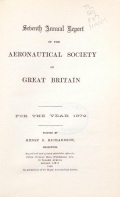 Cover of Annual report of the Aeronautical Society of Great Britain