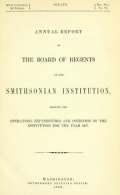 """Cover of """"Annual report of the Board of Regents of the Smithsonian Institution"""""""