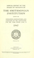 Cover of Annual report of the Board of Regents of the Smithsonian Institution