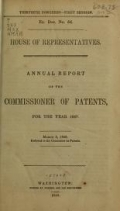 """Cover of """"Annual report of the Commissioner of Patents"""""""