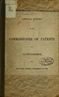 """Cover of """"Annual report of the Commissioner of Patents for the year"""""""