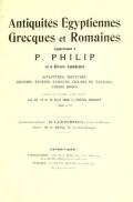 Cover of Antiquites Egyptiennes, Grecques et Romaines appartenant a P.