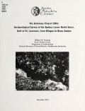 Cover of Archaeological survey of the Quebec lower north shore, Gulf of St. Lawrence, from Mingan to Blanc Sablon