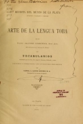 Cover of Arte de la lengua toba