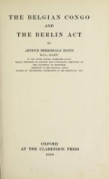 """Cover of """"The Belgian Congo and the Berlin act"""""""