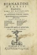 Cover of Bernardini Telesii Consentini, Varii de naturalibus rebus libelli