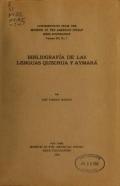 Cover of Bibliografía de las lenguas quechua y aymará
