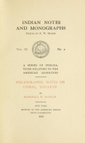 Cover of Bibliographic notes on Uxmal, Yucatan,