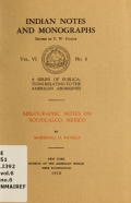 Cover of Bibliographic notes on Xochicalco, Mexico
