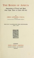 "Cover of ""The bonds of Africa"""