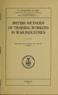 """Cover of """"British methods of training workers in war industries"""""""