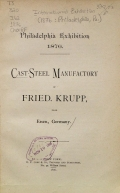 Cover of Cast-steel manufactory of Fried. Krupp, near Essen, Germany