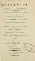 Cover of Catalog of cameos, intaglios, medals, bas-reliefs, busts and small statues