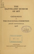 Cover of Catalog of the inaugural exhibition, June 6-September 20, 1916