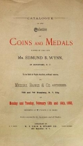 "Cover of ""Catalogue of the collection of coins and medals formed by the late Mr. Edmund B. Wynn., of Watertown, N.Y"""