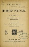 """Cover of """"Catalogue descriptif de toutes les marques postales de la France"""""""