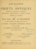Cover of Catalogue des objets antiques