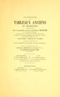 """Cover of """"Catalogue de tableaux anciens et modernes parmi lesquels, deux remarquable portraits par Honore Fragonard et autres ceuvres de: De Troy, Doyen, F."""""""